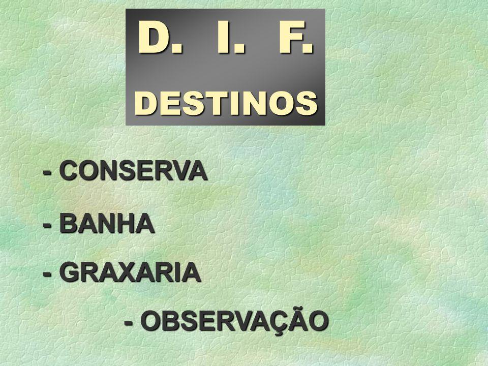 - GRAXARIA - BANHA - CONSERVA D. I. F. DESTINOS - OBSERVAÇÃO