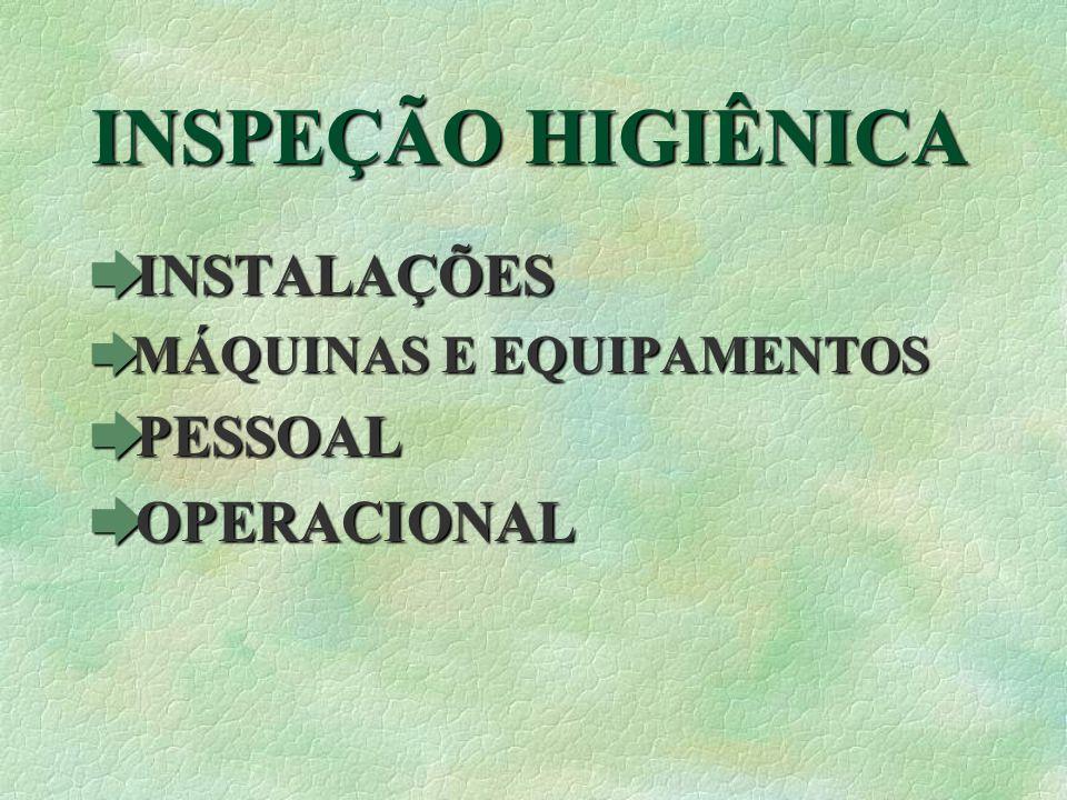 INSPEÇÃO HIGIÊNICA èINSTALAÇÕES èMÁQUINAS E EQUIPAMENTOS èPESSOAL èOPERACIONAL