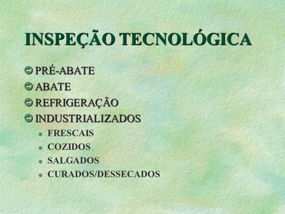 INSPEÇÃO TECNOLÓGICA òPRÉ-ABATE òABATE òREFRIGERAÇÃO òINDUSTRIALIZADOS l FRESCAIS l COZIDOS l SALGADOS l CURADOS/DESSECADOS
