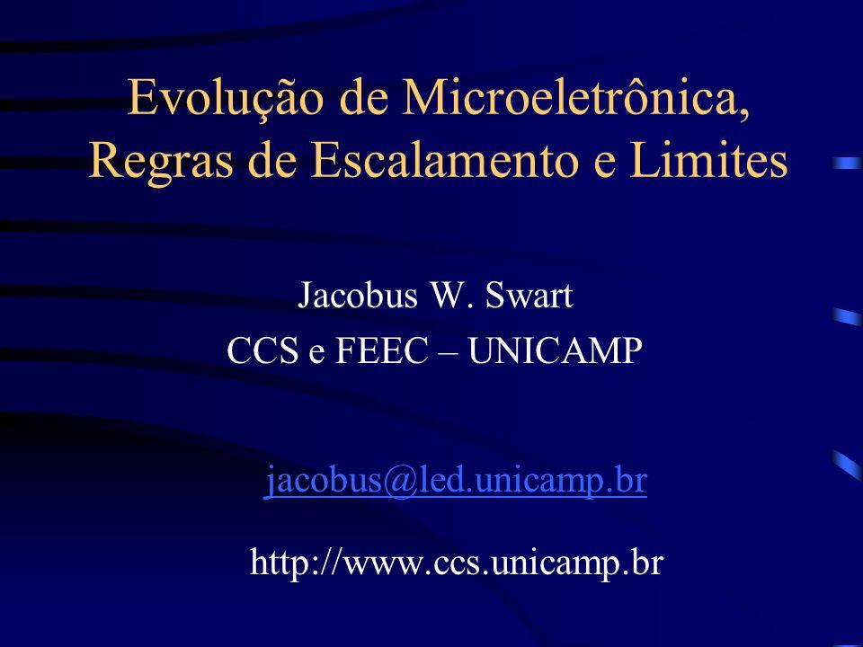 Evolução de Microeletrônica, Regras de Escalamento e Limites Jacobus W. Swart CCS e FEEC – UNICAMP jacobus@led.unicamp.br http://www.ccs.unicamp.br