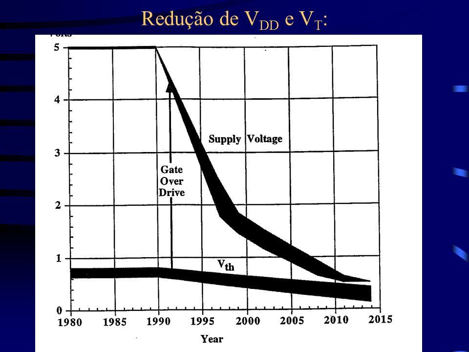 Redução de V DD e V T :