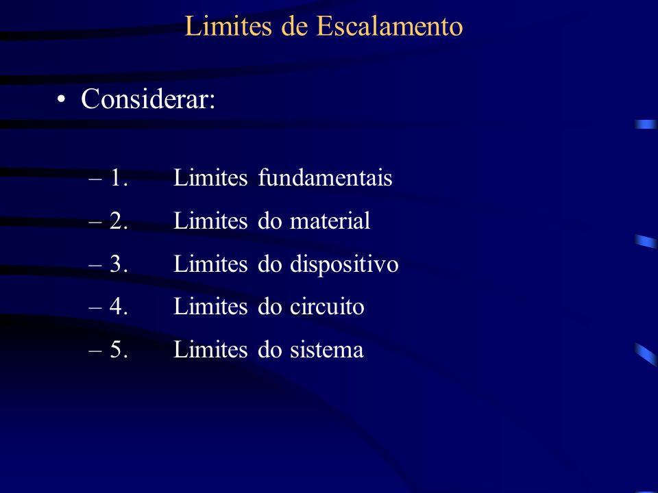 Considerar: –1. Limites fundamentais –2. Limites do material –3. Limites do dispositivo –4. Limites do circuito –5. Limites do sistema
