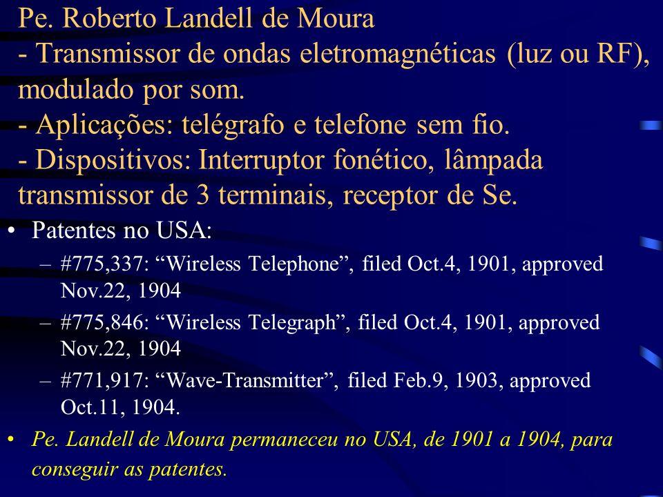 Pe. Roberto Landell de Moura - Transmissor de ondas eletromagnéticas (luz ou RF), modulado por som. - Aplicações: telégrafo e telefone sem fio. - Disp