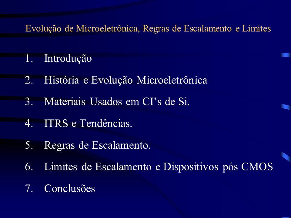 Evolução de Microeletrônica, Regras de Escalamento e Limites 1.Introdução 2.História e Evolução Microeletrônica 3.Materiais Usados em CIs de Si. 4.ITR