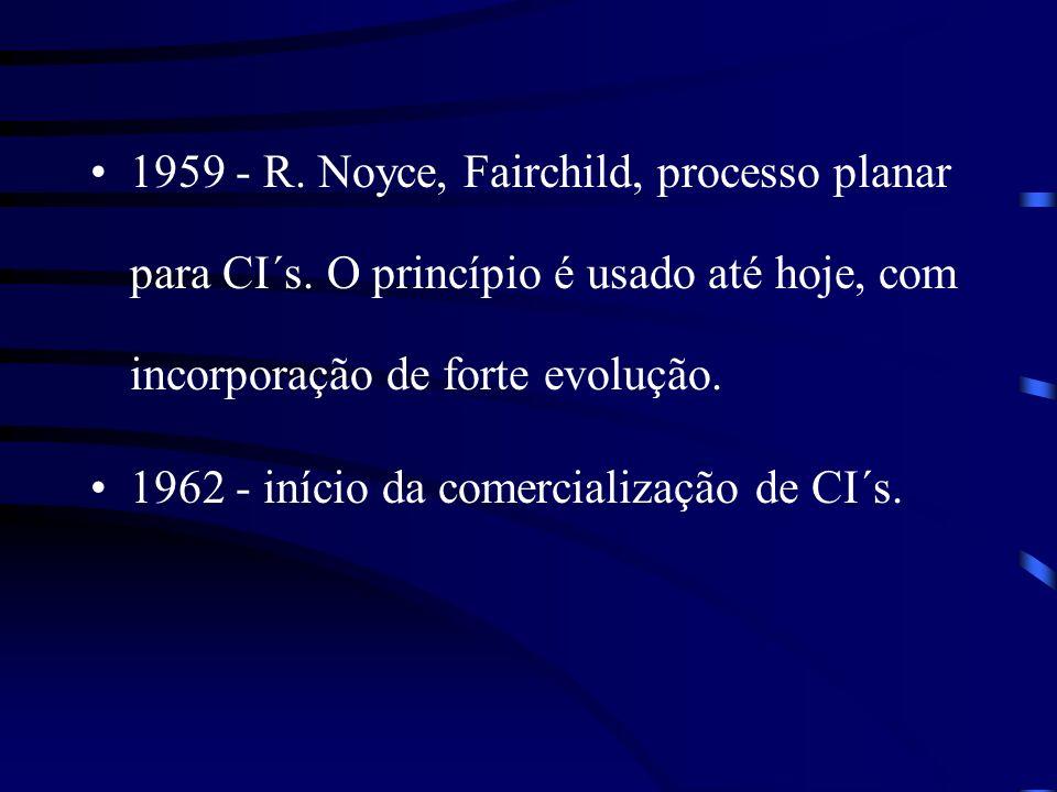 1959 - R. Noyce, Fairchild, processo planar para CI´s. O princípio é usado até hoje, com incorporação de forte evolução. 1962 - início da comercializa