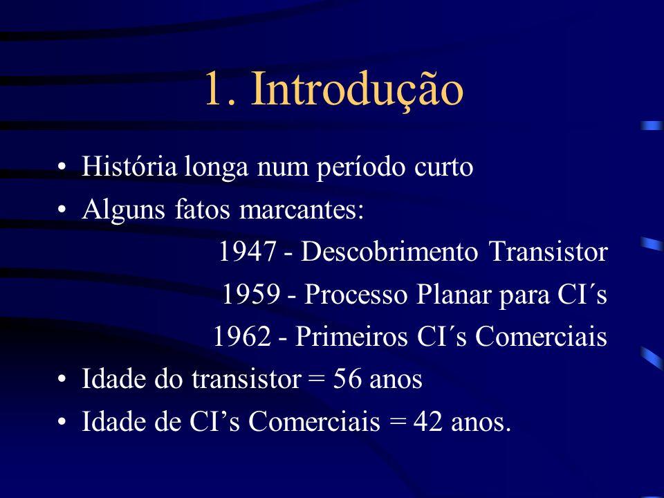 1. Introdução História longa num período curto Alguns fatos marcantes: 1947 - Descobrimento Transistor 1959 - Processo Planar para CI´s 1962 - Primeir