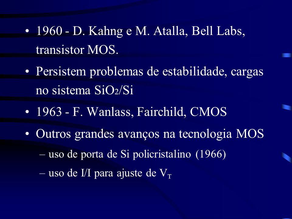 1960 - D. Kahng e M. Atalla, Bell Labs, transistor MOS. Persistem problemas de estabilidade, cargas no sistema SiO 2 /Si 1963 - F. Wanlass, Fairchild,