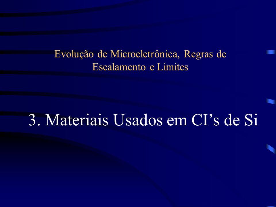 Evolução de Microeletrônica, Regras de Escalamento e Limites 3. Materiais Usados em CIs de Si