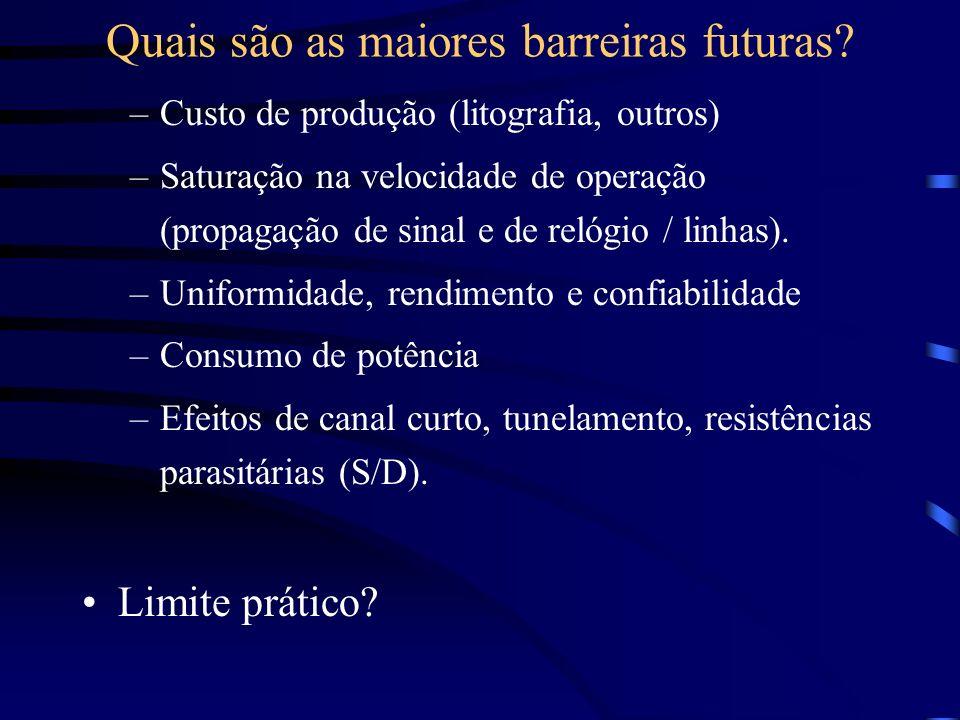 –Custo de produção (litografia, outros) –Saturação na velocidade de operação (propagação de sinal e de relógio / linhas). –Uniformidade, rendimento e