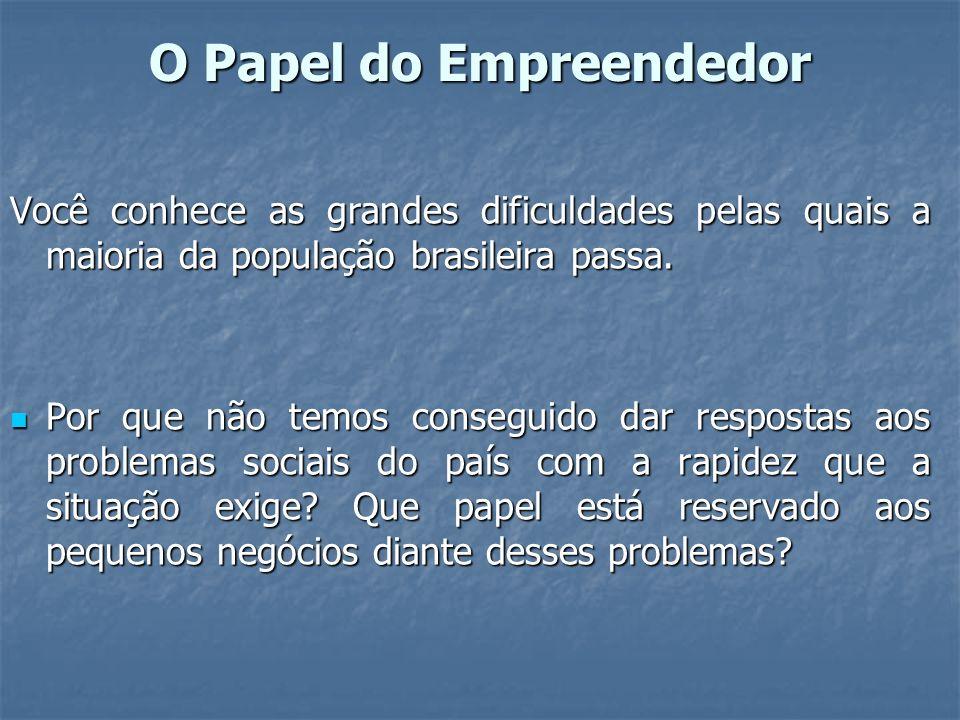 O Papel do Empreendedor Você conhece as grandes dificuldades pelas quais a maioria da população brasileira passa.