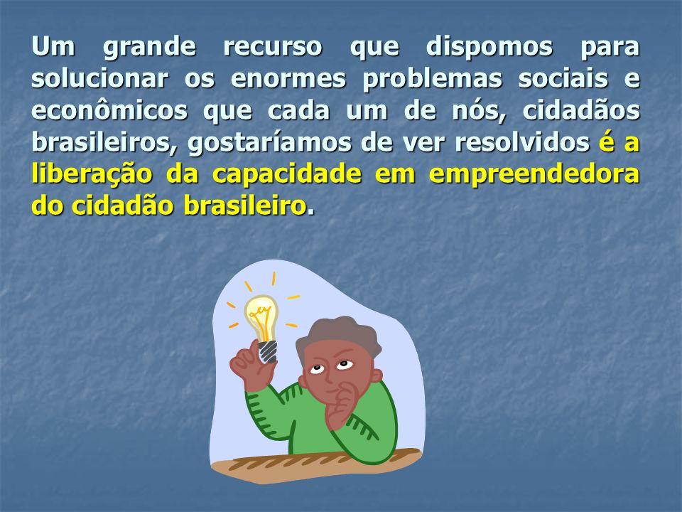 Um grande recurso que dispomos para solucionar os enormes problemas sociais e econômicos que cada um de nós, cidadãos brasileiros, gostaríamos de ver resolvidos é a liberação da capacidade em empreendedora do cidadão brasileiro.