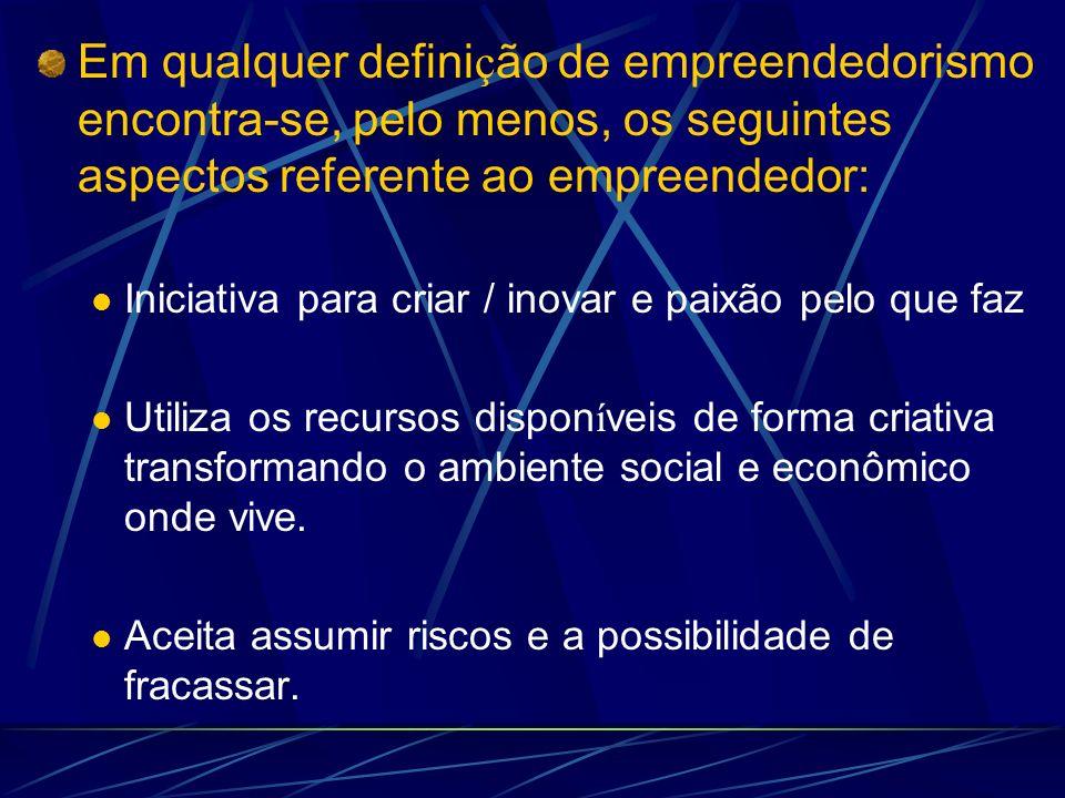 Em qualquer defini ç ão de empreendedorismo encontra-se, pelo menos, os seguintes aspectos referente ao empreendedor: Iniciativa para criar / inovar e