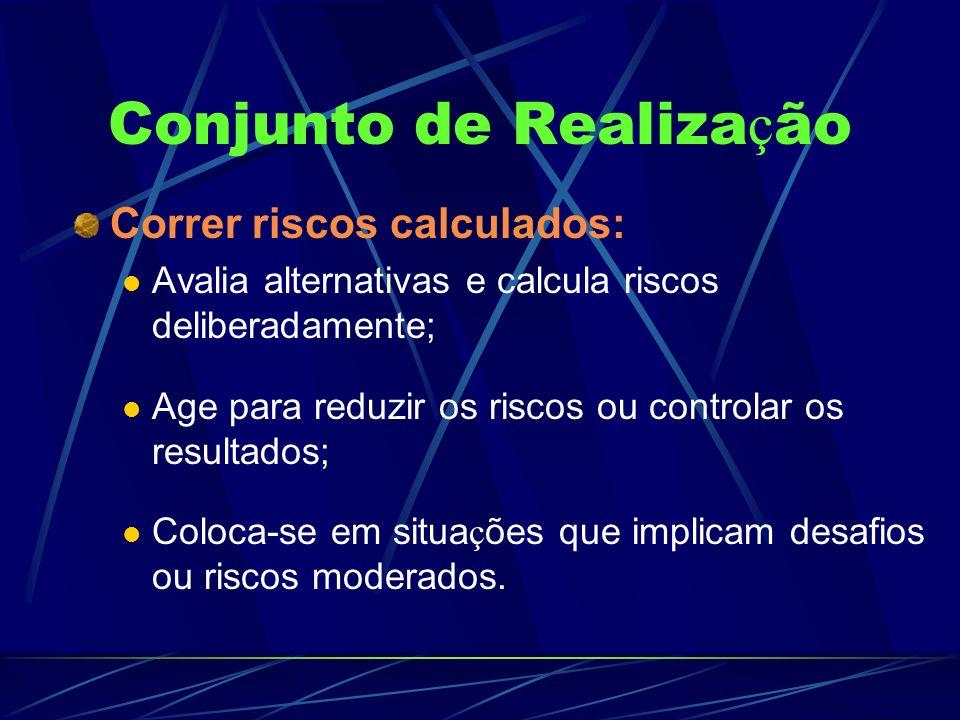 Conjunto de Realiza ç ão Correr riscos calculados: Avalia alternativas e calcula riscos deliberadamente; Age para reduzir os riscos ou controlar os re