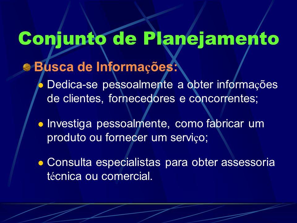 Conjunto de Planejamento Busca de Informa ç ões: Dedica-se pessoalmente a obter informa ç ões de clientes, fornecedores e concorrentes; Investiga pess