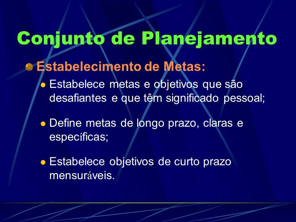 Conjunto de Planejamento Estabelecimento de Metas: Estabelece metas e objetivos que são desafiantes e que têm significado pessoal; Define metas de lon