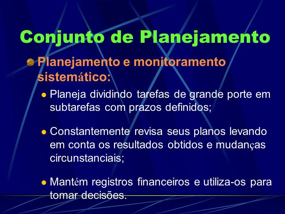 Conjunto de Planejamento Planejamento e monitoramento sistem á tico: Planeja dividindo tarefas de grande porte em subtarefas com prazos definidos; Con