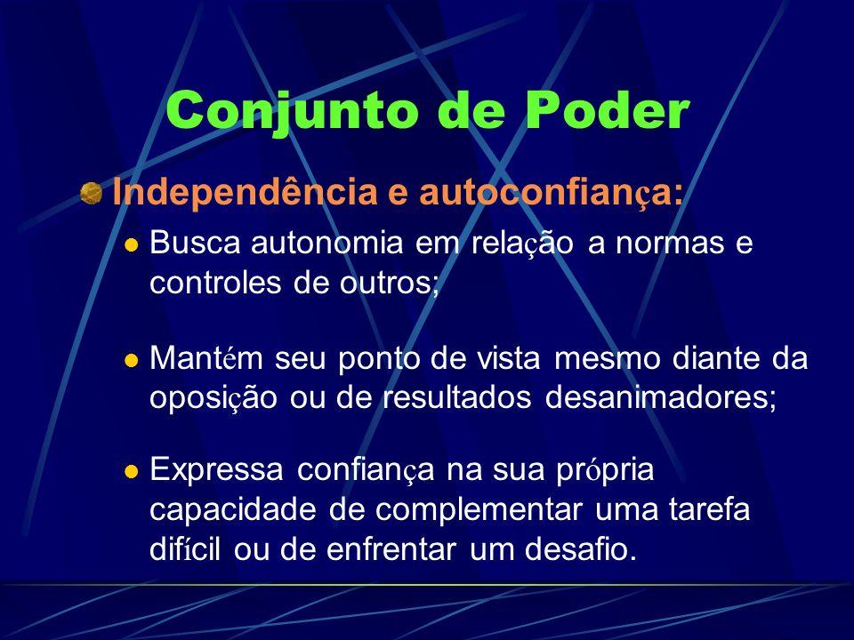 Conjunto de Poder Independência e autoconfian ç a: Busca autonomia em rela ç ão a normas e controles de outros; Mant é m seu ponto de vista mesmo dian