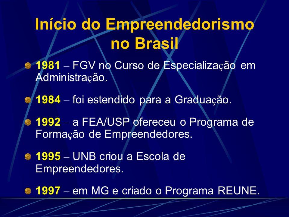 Início do Empreendedorismo no Brasil 1981 – FGV no Curso de Especializa ç ão em Administra ç ão. 1984 – foi estendido para a Gradua ç ão. 1992 – a FEA