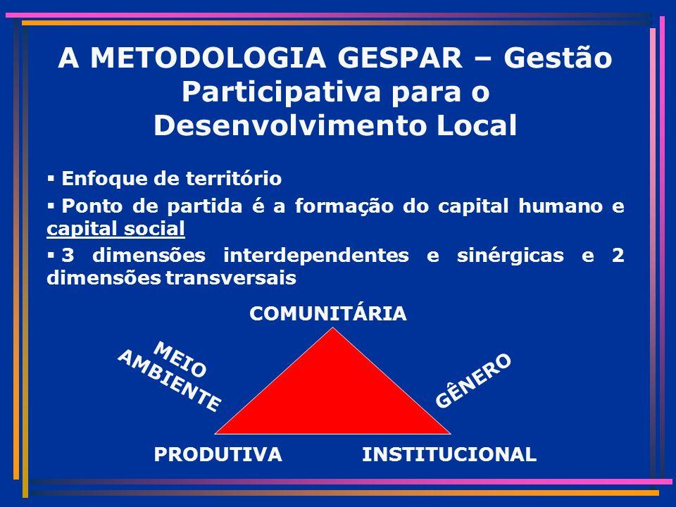 A METODOLOGIA GESPAR – Gestão Participativa para o Desenvolvimento Local Enfoque de território Ponto de partida é a formação do capital humano e capital social 3 dimensões interdependentes e sinérgicas e 2 dimensões transversais COMUNITÁRIA INSTITUCIONALPRODUTIVA GÊNERO MEIO AMBIENTE