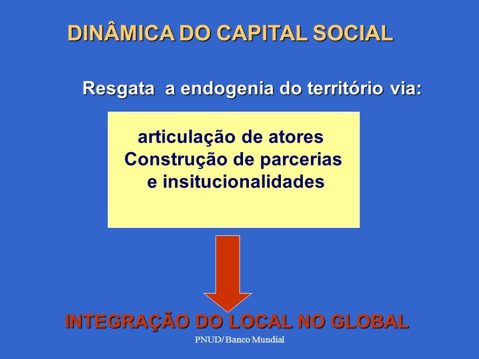 PNUD/ Banco Mundial Resgata a endogenia do território via: articulação de atores Construção de parcerias e insitucionalidades INTEGRAÇÃO DO LOCAL NO G