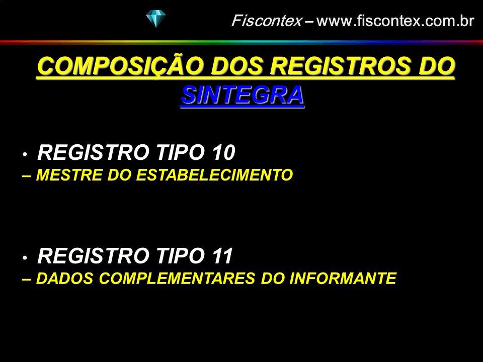 Fiscontex – www.fiscontex.com.br COMPOSIÇÃO DOS REGISTROS