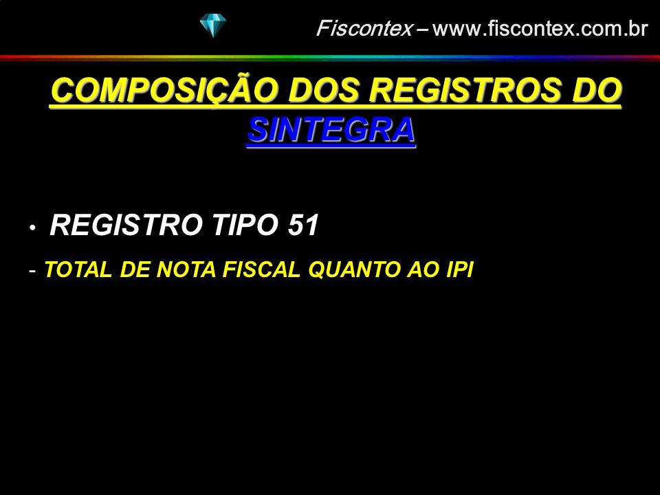 Fiscontex – www.fiscontex.com.br COMPOSIÇÃO DOS REGISTROS DO SINTEGRA COMPOSIÇÃO DOS REGISTROS DO SINTEGRA REGISTRO TIPO 50 - NOTA FISCAL, MODELO 1 OU 1A, QUANTO AO ICMS - NOTA FISCAL / CONTA DE ENERGIA ELÉTRICA (mod 6) - NOTA FISCAL DE SERVIÇO DE COMUNICAÇÃO - NOTA FISCAL DE SERVIÇOS DE COMUNICAÇÕES