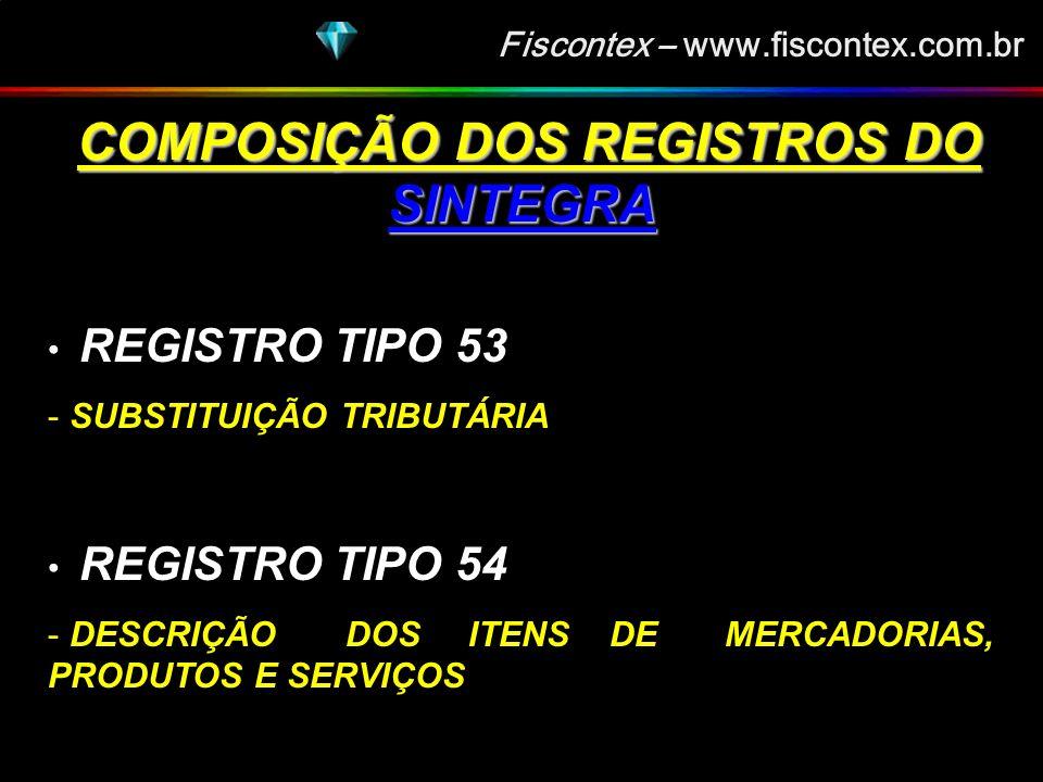 Fiscontex – www.fiscontex.com.br COMPOSIÇÃO DOS REGISTROS DO SINTEGRA COMPOSIÇÃO DOS REGISTROS DO SINTEGRA REGISTRO TIPO 51 - TOTAL DE NOTA FISCAL QUANTO AO IPI