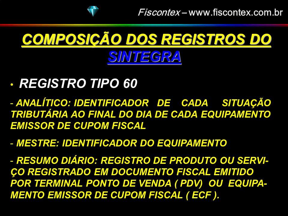 Fiscontex – www.fiscontex.com.br COMPOSIÇÃO DOS REGISTROS DO SINTEGRA COMPOSIÇÃO DOS REGISTROS DO SINTEGRA REGISTRO TIPO 55 - GUIA NACIONAL DE RECOLHIMENTO DE TRIBUTOS ESTADUAIS