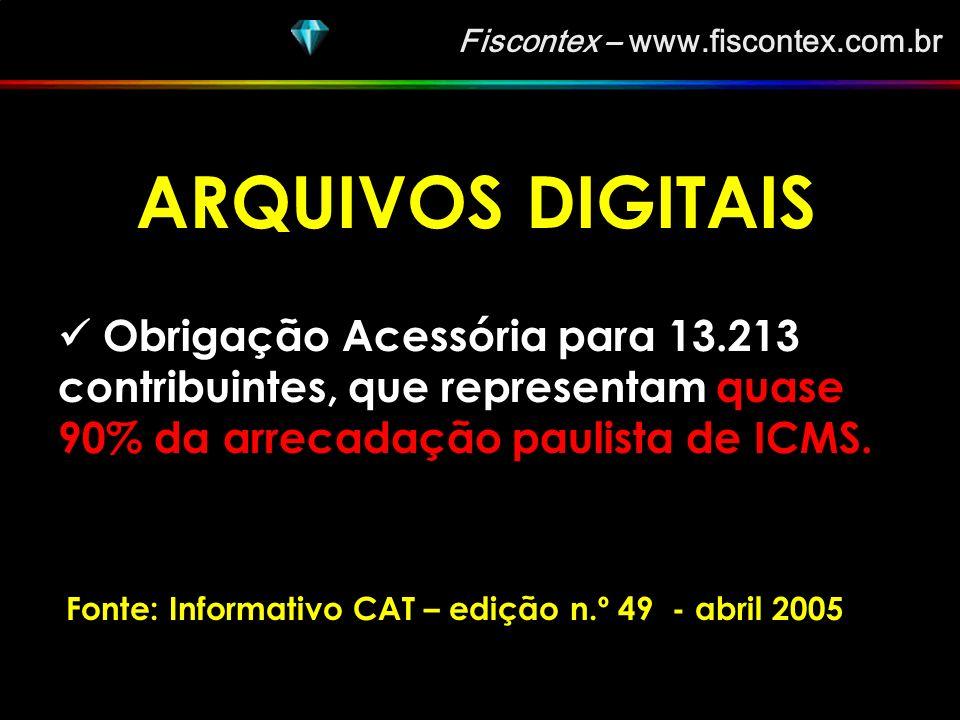 ARQUIVOS DIGITAIS Obrigação Acessória para 13.213 contribuintes, que representam quase 90% da arrecadação paulista de ICMS.