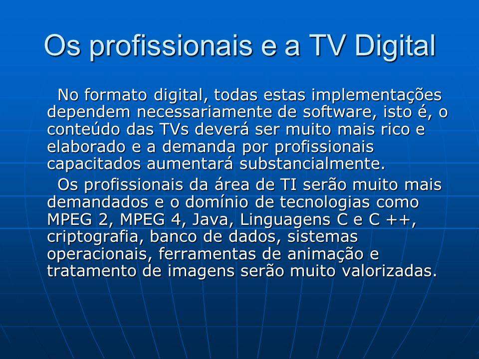 Os profissionais e a TV Digital No formato digital, todas estas implementações dependem necessariamente de software, isto é, o conteúdo das TVs deverá ser muito mais rico e elaborado e a demanda por profissionais capacitados aumentará substancialmente.