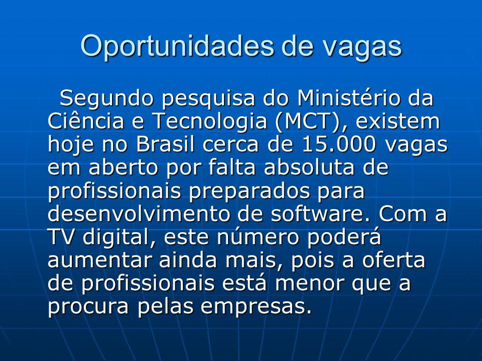 Oportunidades de vagas Segundo pesquisa do Ministério da Ciência e Tecnologia (MCT), existem hoje no Brasil cerca de 15.000 vagas em aberto por falta absoluta de profissionais preparados para desenvolvimento de software.