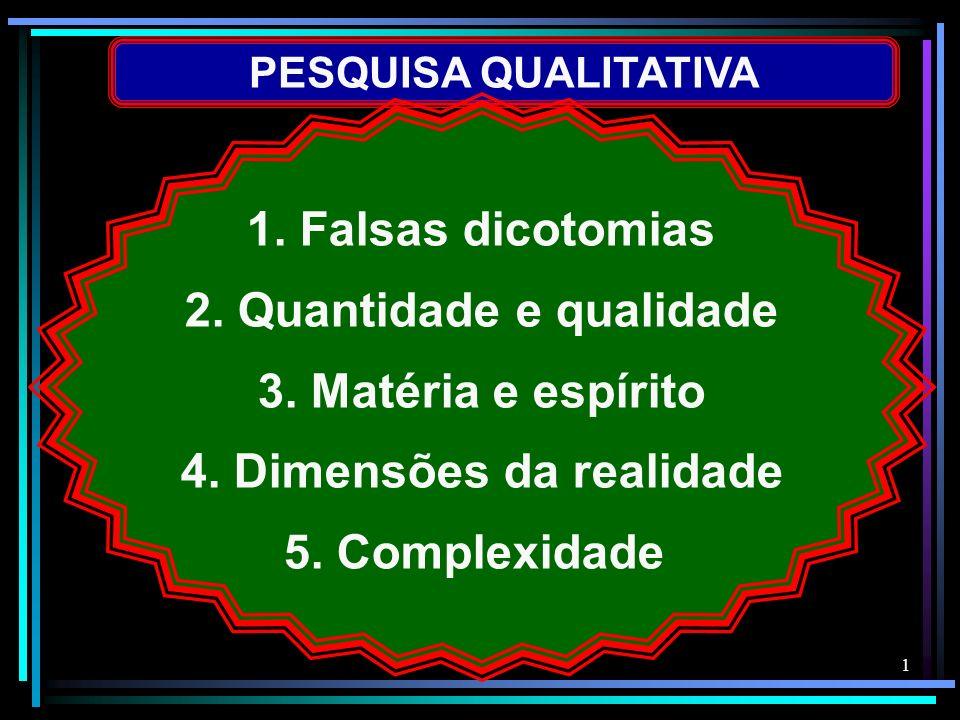 1 PESQUISA QUALITATIVA 1. Falsas dicotomias 2. Quantidade e qualidade 3. Matéria e espírito 4. Dimensões da realidade 5. Complexidade