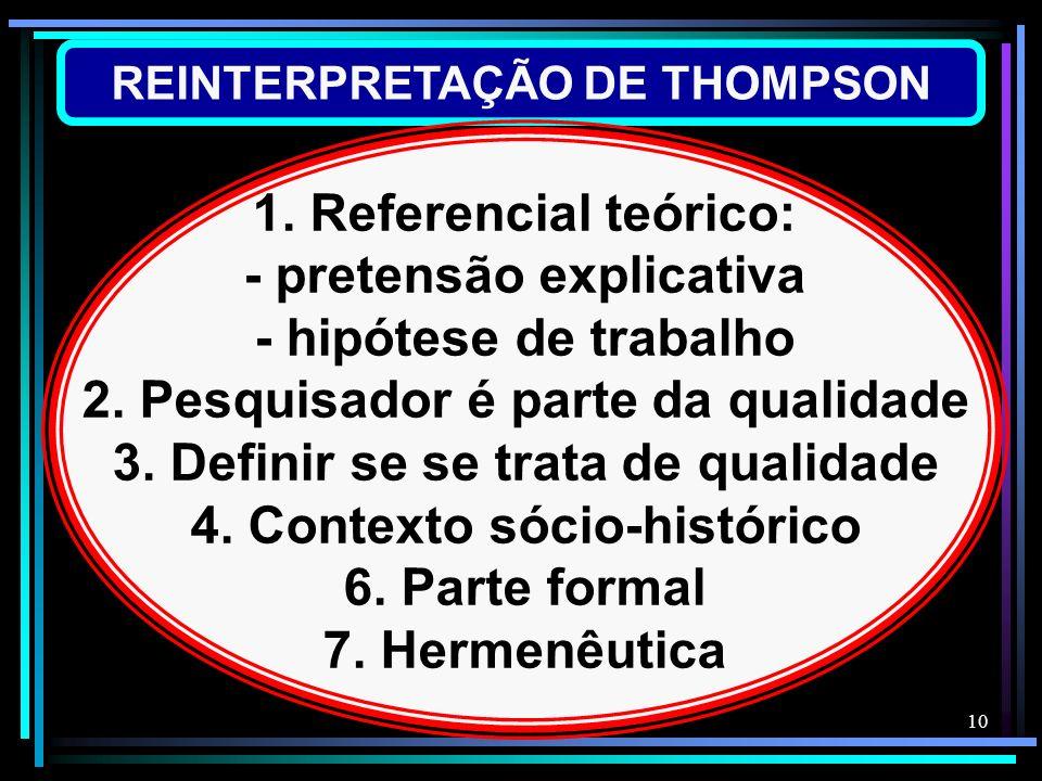 10 REINTERPRETAÇÃO DE THOMPSON 1. Referencial teórico: - pretensão explicativa - hipótese de trabalho 2. Pesquisador é parte da qualidade 3. Definir s