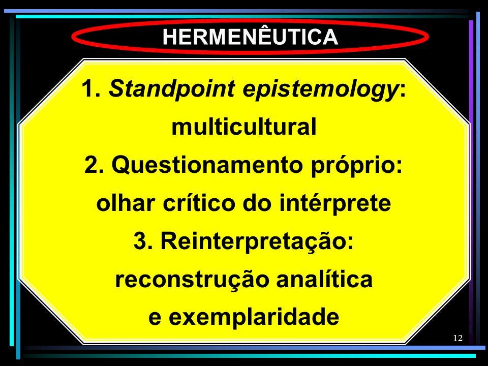 12 HERMENÊUTICA 1. Standpoint epistemology: multicultural 2. Questionamento próprio: olhar crítico do intérprete 3. Reinterpretação: reconstrução anal