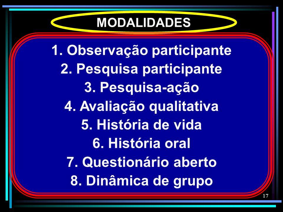 17 MODALIDADES 1. Observação participante 2. Pesquisa participante 3. Pesquisa-ação 4. Avaliação qualitativa 5. História de vida 6. História oral 7. Q