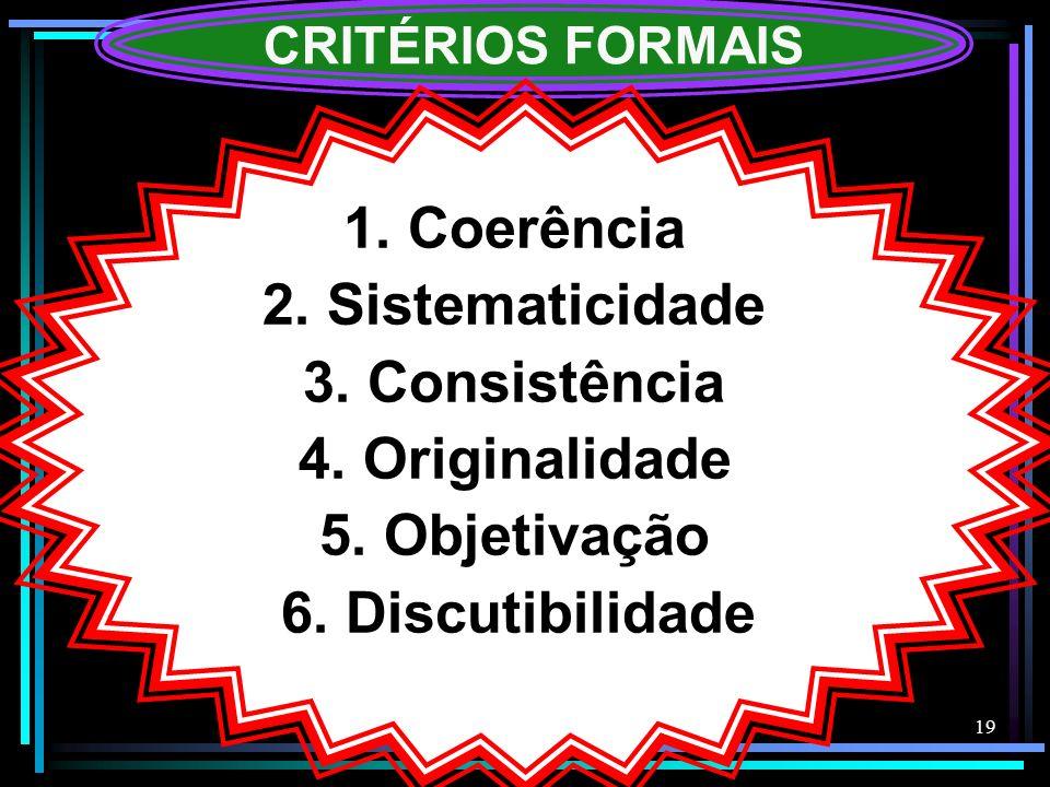 19 CRITÉRIOS FORMAIS 1. Coerência 2. Sistematicidade 3. Consistência 4. Originalidade 5. Objetivação 6. Discutibilidade