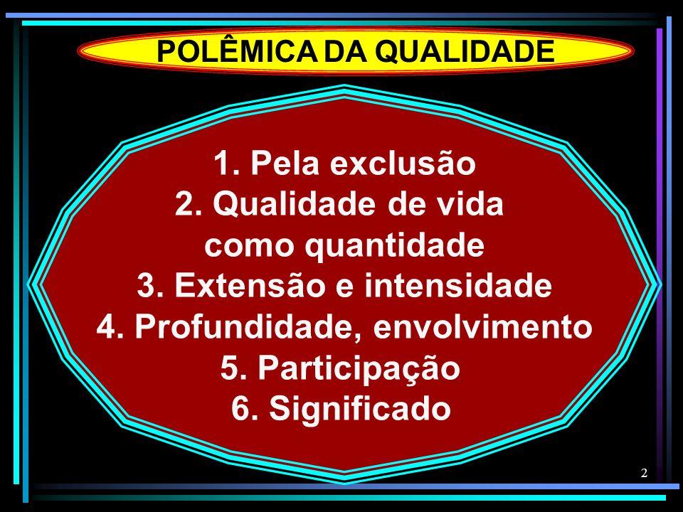 2 POLÊMICA DA QUALIDADE 1. Pela exclusão 2. Qualidade de vida como quantidade 3. Extensão e intensidade 4. Profundidade, envolvimento 5. Participação