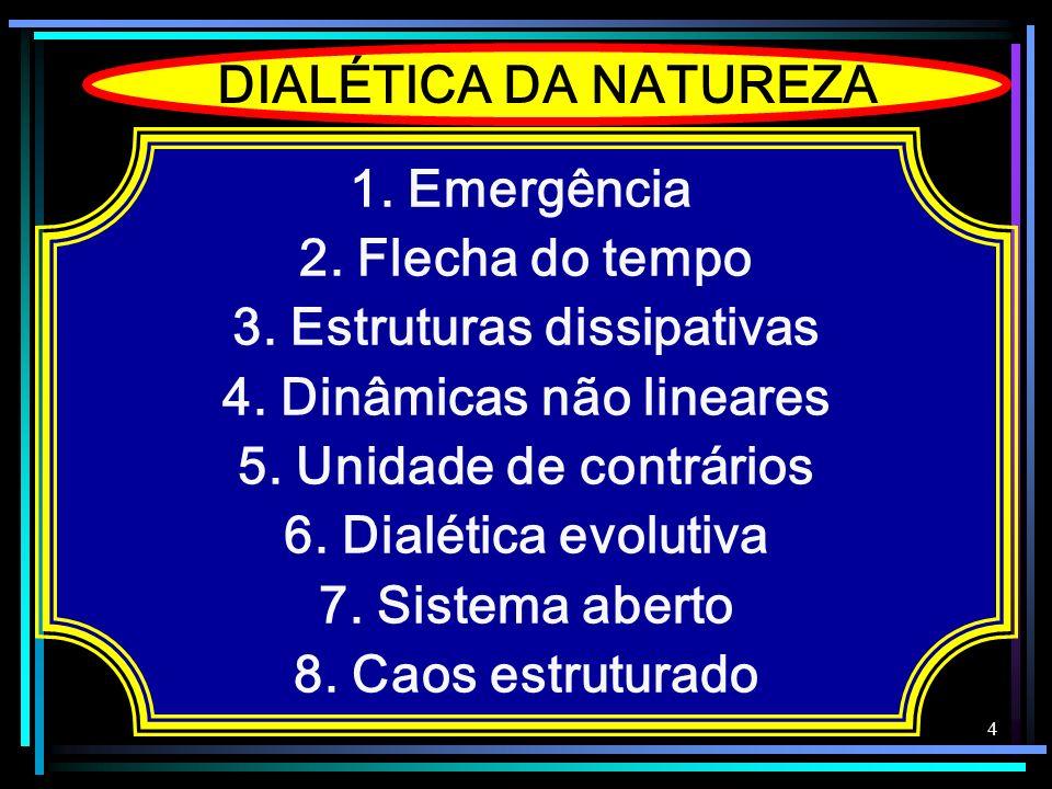 4 DIALÉTICA DA NATUREZA 1. Emergência 2. Flecha do tempo 3. Estruturas dissipativas 4. Dinâmicas não lineares 5. Unidade de contrários 6. Dialética ev