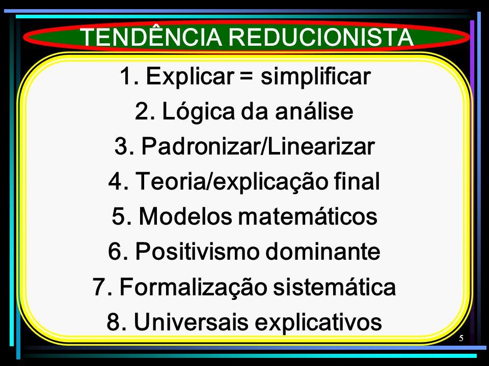 5 TENDÊNCIA REDUCIONISTA 1. Explicar = simplificar 2. Lógica da análise 3. Padronizar/Linearizar 4. Teoria/explicação final 5. Modelos matemáticos 6.