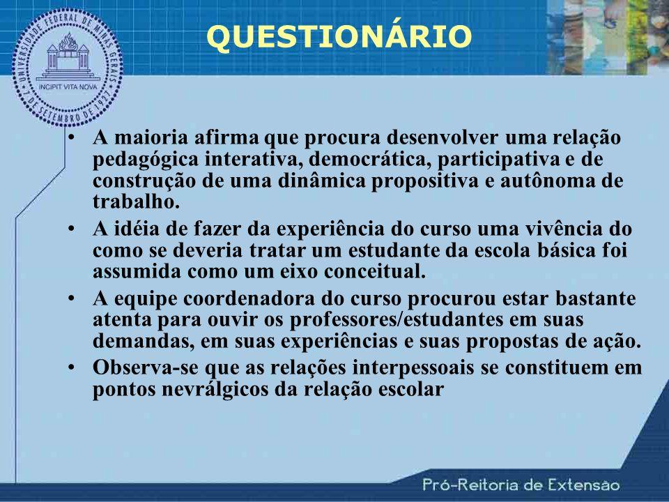 A maioria afirma que procura desenvolver uma relação pedagógica interativa, democrática, participativa e de construção de uma dinâmica propositiva e autônoma de trabalho.