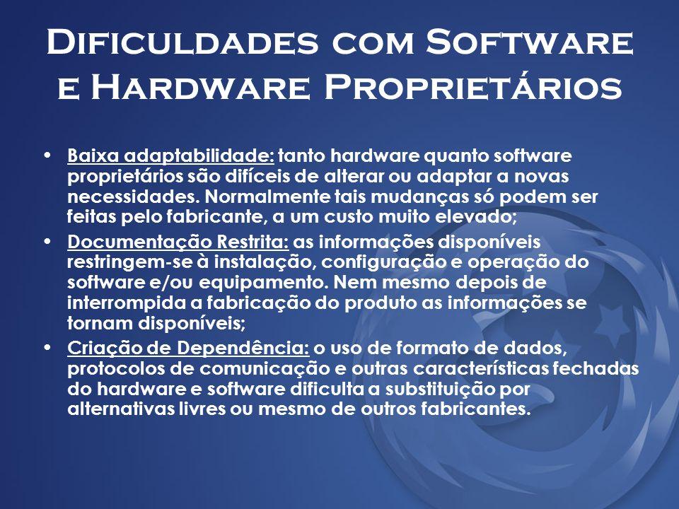 Dificuldades com Software e Hardware Proprietários Baixa adaptabilidade: tanto hardware quanto software proprietários são difíceis de alterar ou adapt