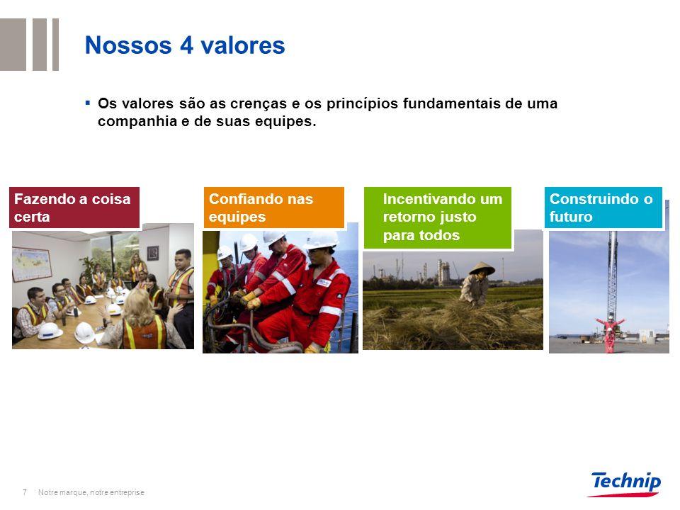 Nossos 4 valores Os valores são as crenças e os princípios fundamentais de uma companhia e de suas equipes. 7 Confiando nas equipes Fazendo a coisa ce