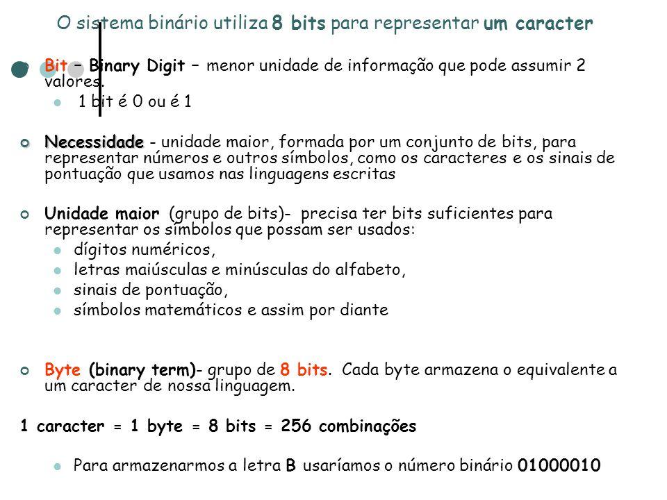 Bit – Binary Digit – menor unidade de informação que pode assumir 2 valores. 1 bit é 0 ou é 1 Necessidade Necessidade - unidade maior, formada por um