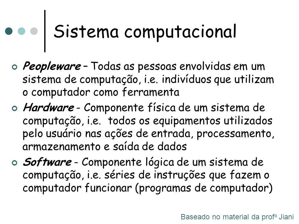 Peopleware – Todas as pessoas envolvidas em um sistema de computação, i.e. indivíduos que utilizam o computador como ferramenta Hardware - Componente