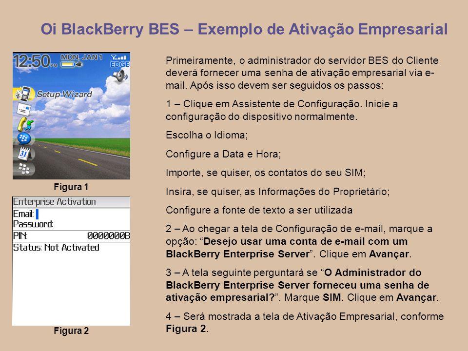 5 Oi BlackBerry BES – Exemplo de Ativação Empresarial Primeiramente, o administrador do servidor BES do Cliente deverá fornecer uma senha de ativação empresarial via e- mail.