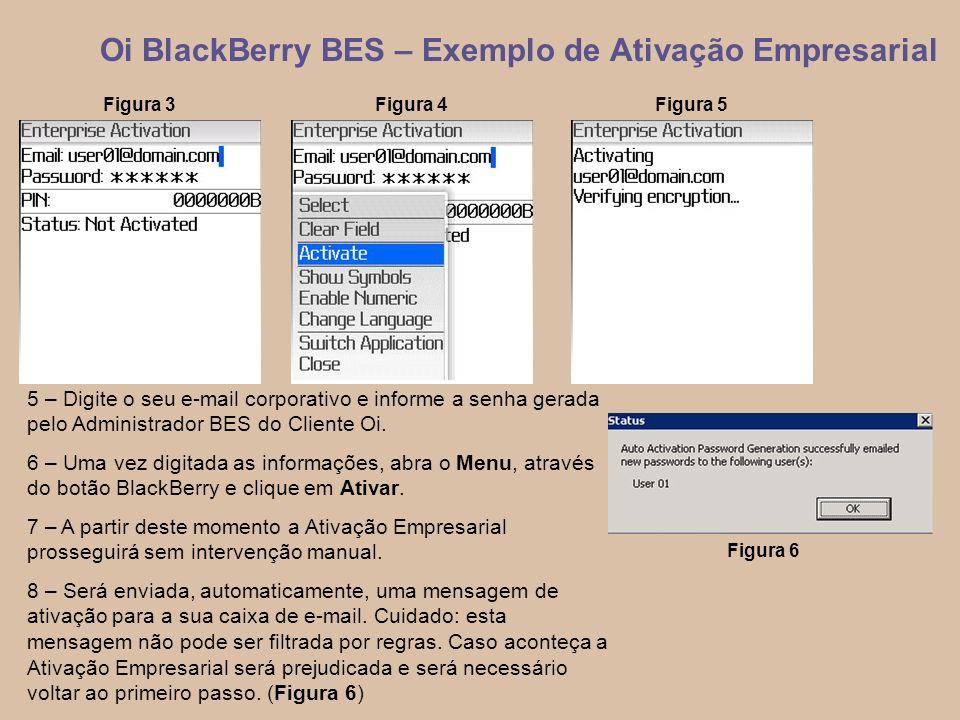 6 Oi BlackBerry BES – Exemplo de Ativação Empresarial 5 – Digite o seu e-mail corporativo e informe a senha gerada pelo Administrador BES do Cliente Oi.