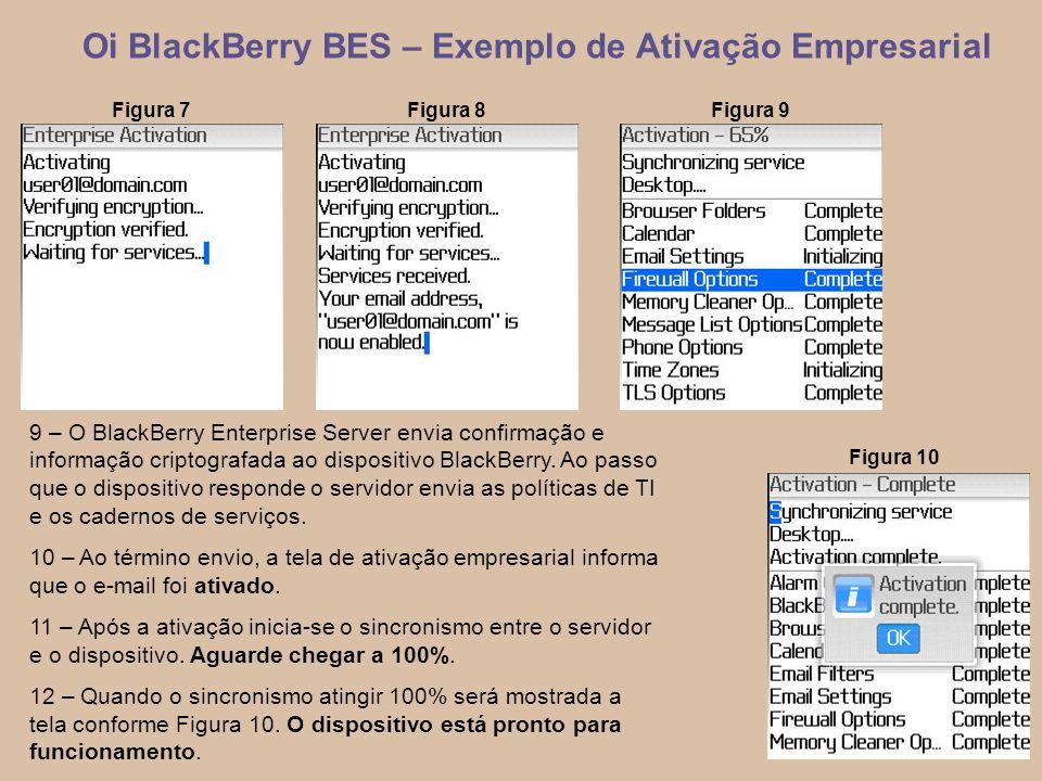 7 Oi BlackBerry BES – Exemplo de Ativação Empresarial 9 – O BlackBerry Enterprise Server envia confirmação e informação criptografada ao dispositivo BlackBerry.