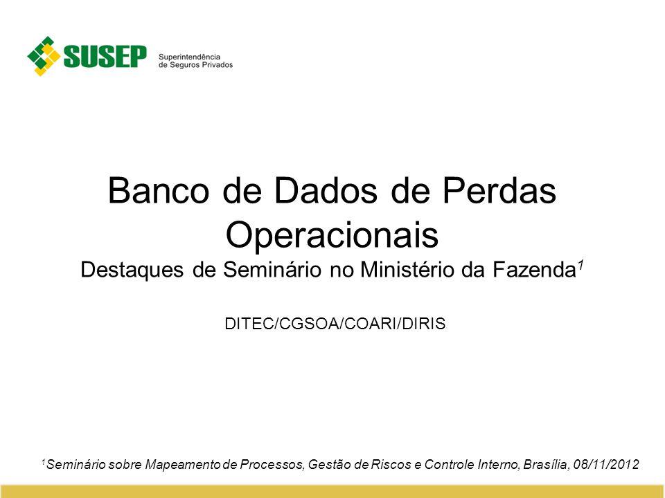 Banco de Dados de Perdas Operacionais Destaques de Seminário no Ministério da Fazenda 1 DITEC/CGSOA/COARI/DIRIS 1 Seminário sobre Mapeamento de Processos, Gestão de Riscos e Controle Interno, Brasília, 08/11/2012