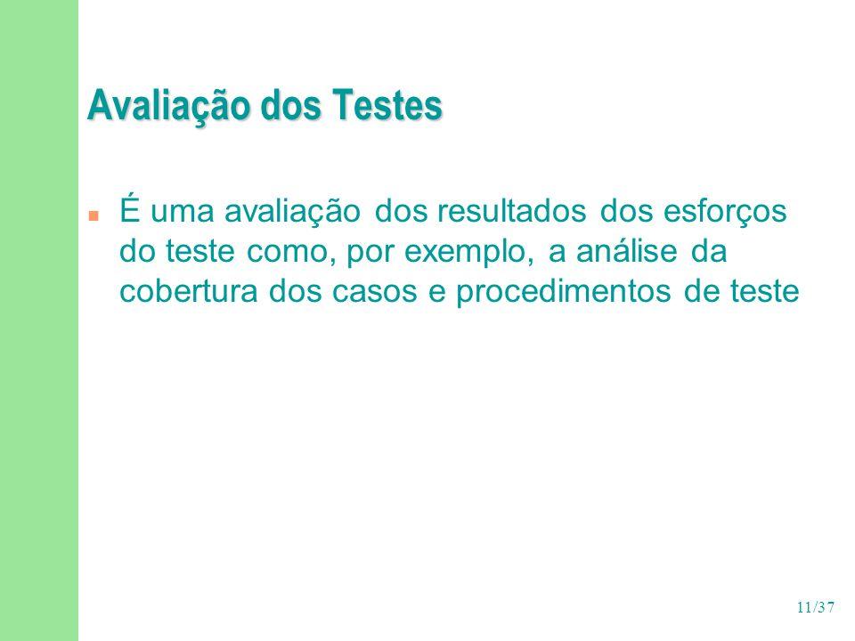 11/37 Avaliação dos Testes n É uma avaliação dos resultados dos esforços do teste como, por exemplo, a análise da cobertura dos casos e procedimentos