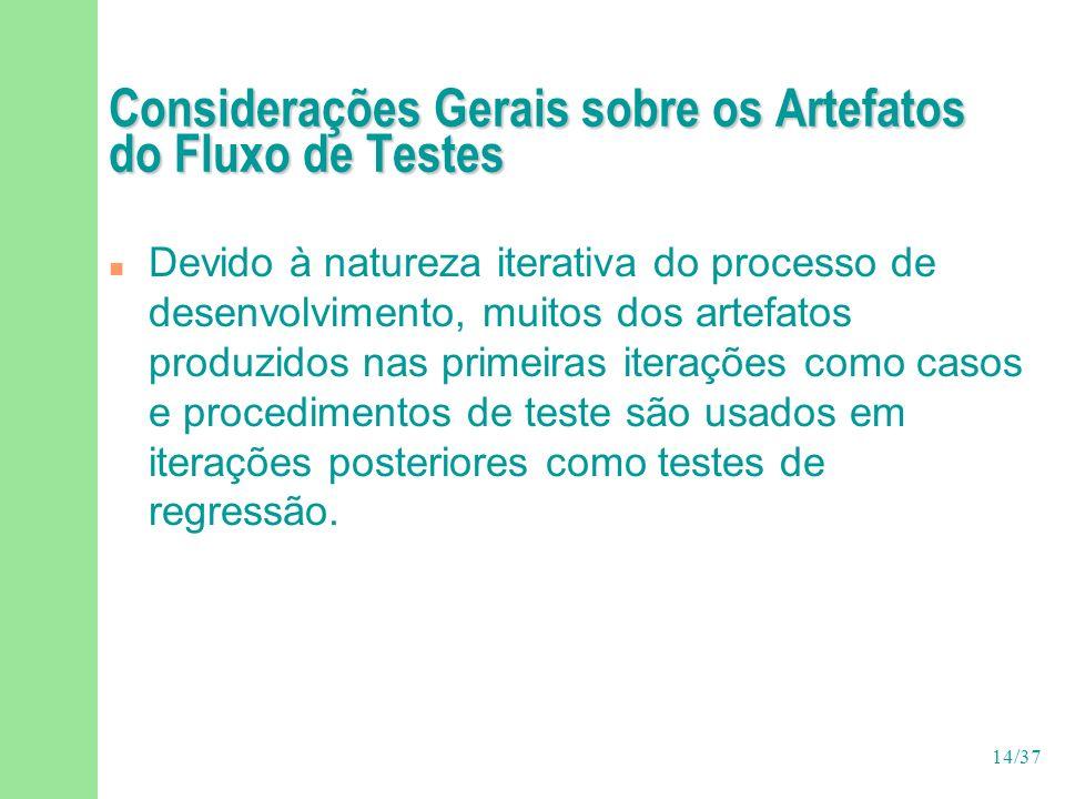 14/37 Considerações Gerais sobre os Artefatos do Fluxo de Testes n Devido à natureza iterativa do processo de desenvolvimento, muitos dos artefatos produzidos nas primeiras iterações como casos e procedimentos de teste são usados em iterações posteriores como testes de regressão.